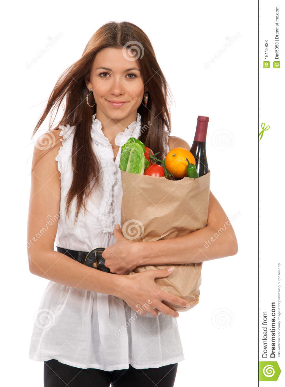 Model Young Woman Holding Grocery Bag Stock Image - Image 32225629