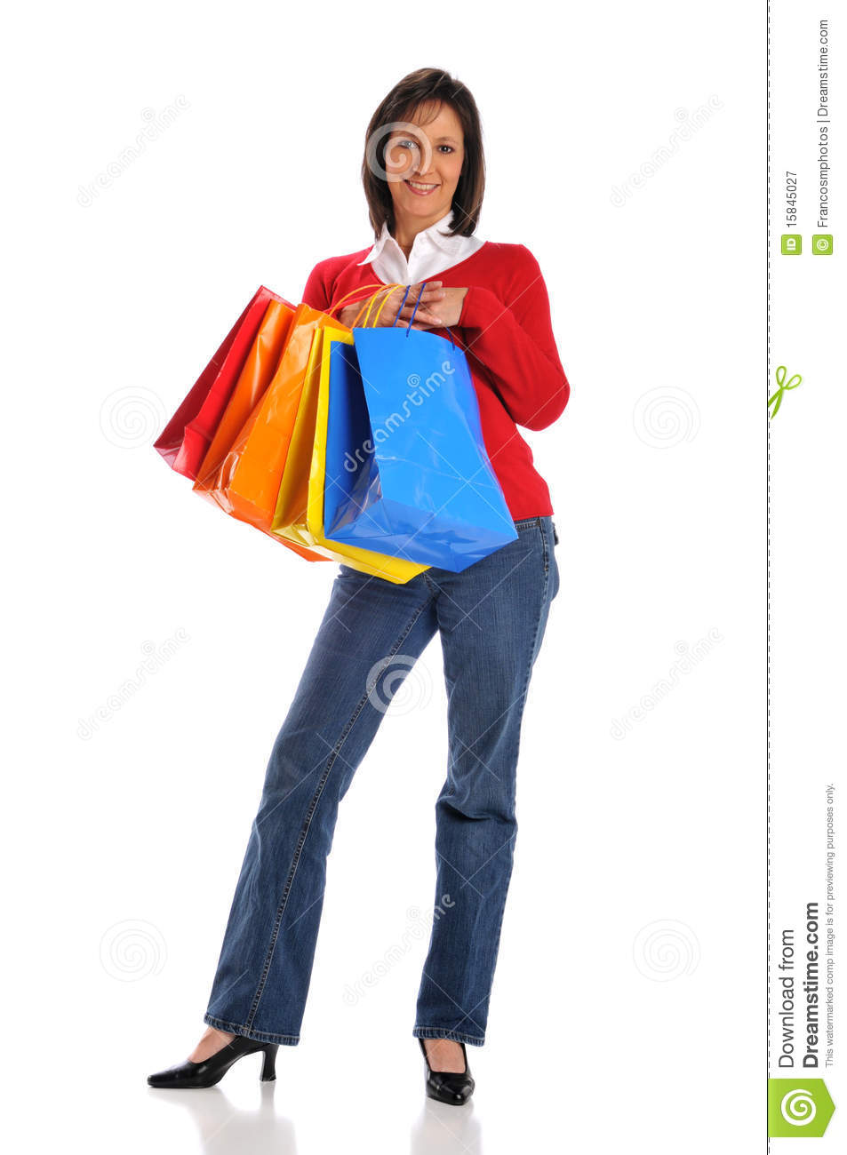 Popular Woman Holding Shopping Bags And Travel Suitcase Stock Photo - Image 52255868
