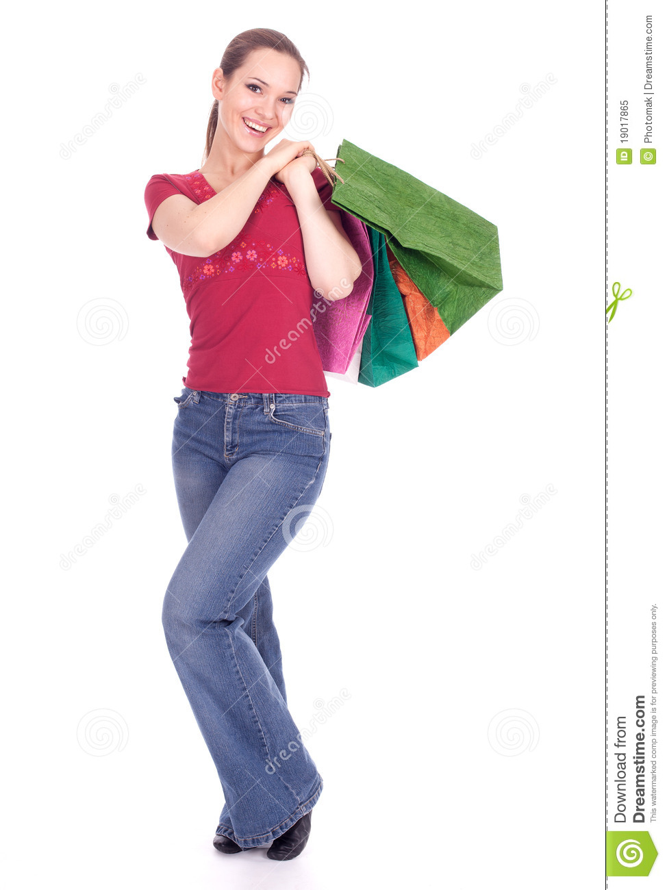 Simple Shopping Woman In Joy Running Holding Bag Royalty Free Stock Image - Image 13616206