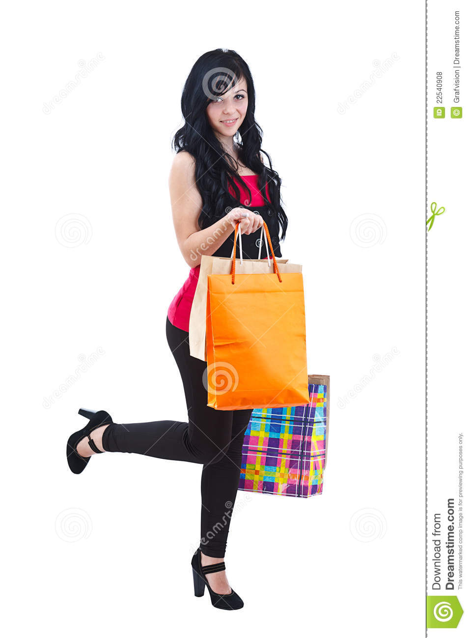 Fantastic Smiling Woman Holding Shopping Bags Royalty Free Stock Photography - Image 25825287