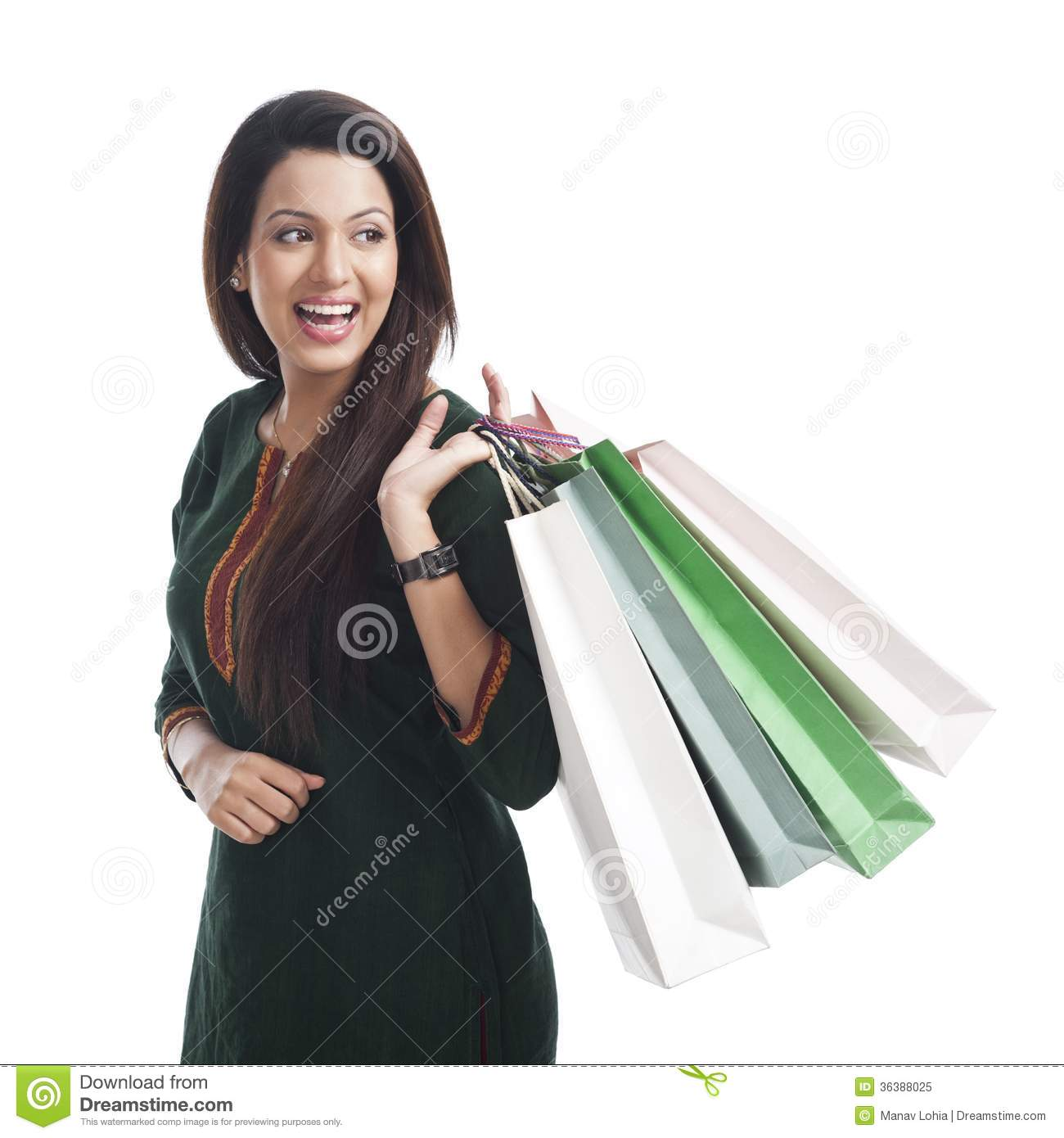 Original Young Woman Holding Shopping Bags Image
