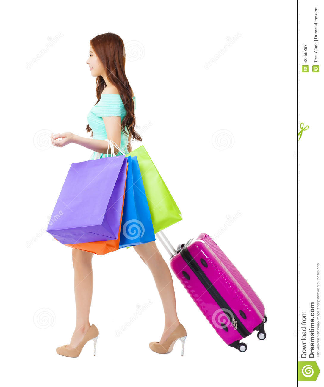 Creative Woman Holding Colorful Bags Stock Photography | CartoonDealer.com #30316976