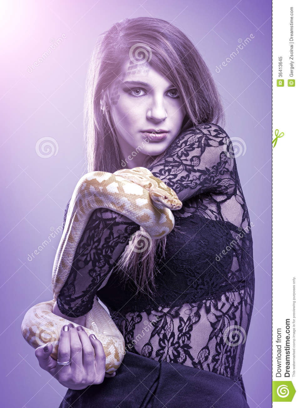 Woman Holding A Snake Royalty Free Stock Photo - Image ...