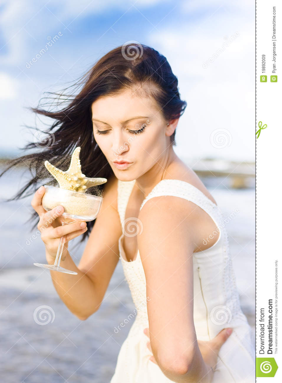 Woman Holding Star Fish Cocktail Royalty Free Stock Images