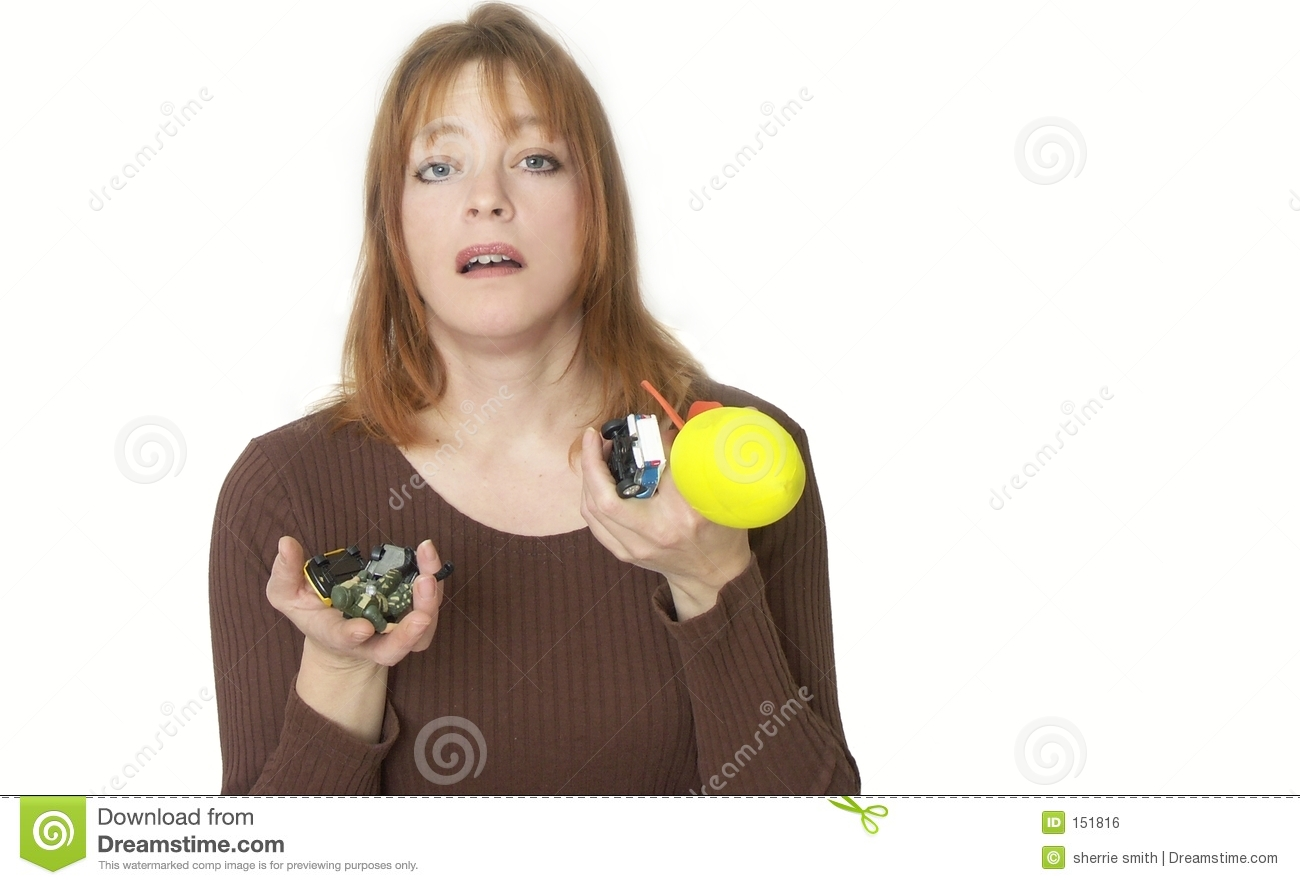 Woman holding toys