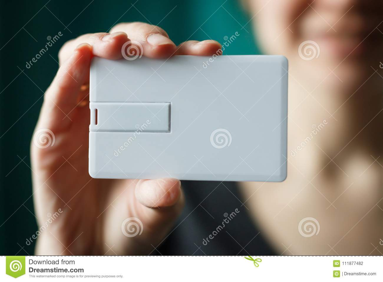 woman holding usb flash bussines card template mock up blank