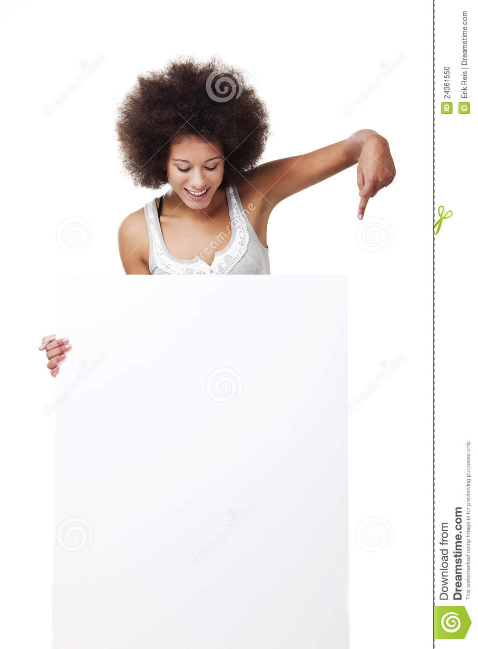 Woman holding a white billboard