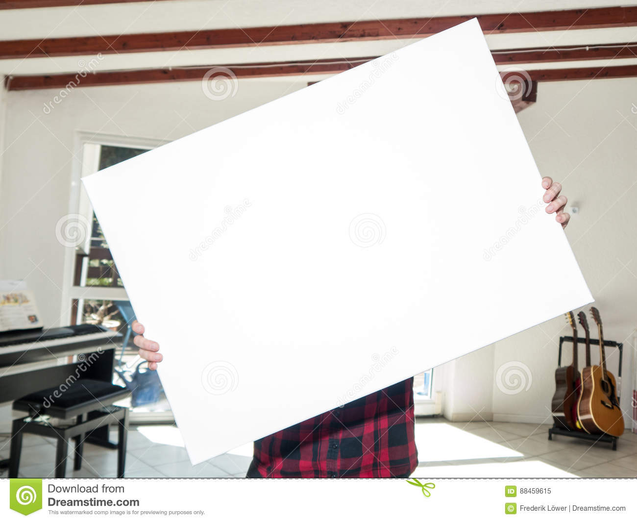 Download Woman holding white canvas stock image. Image of sign - 88459615