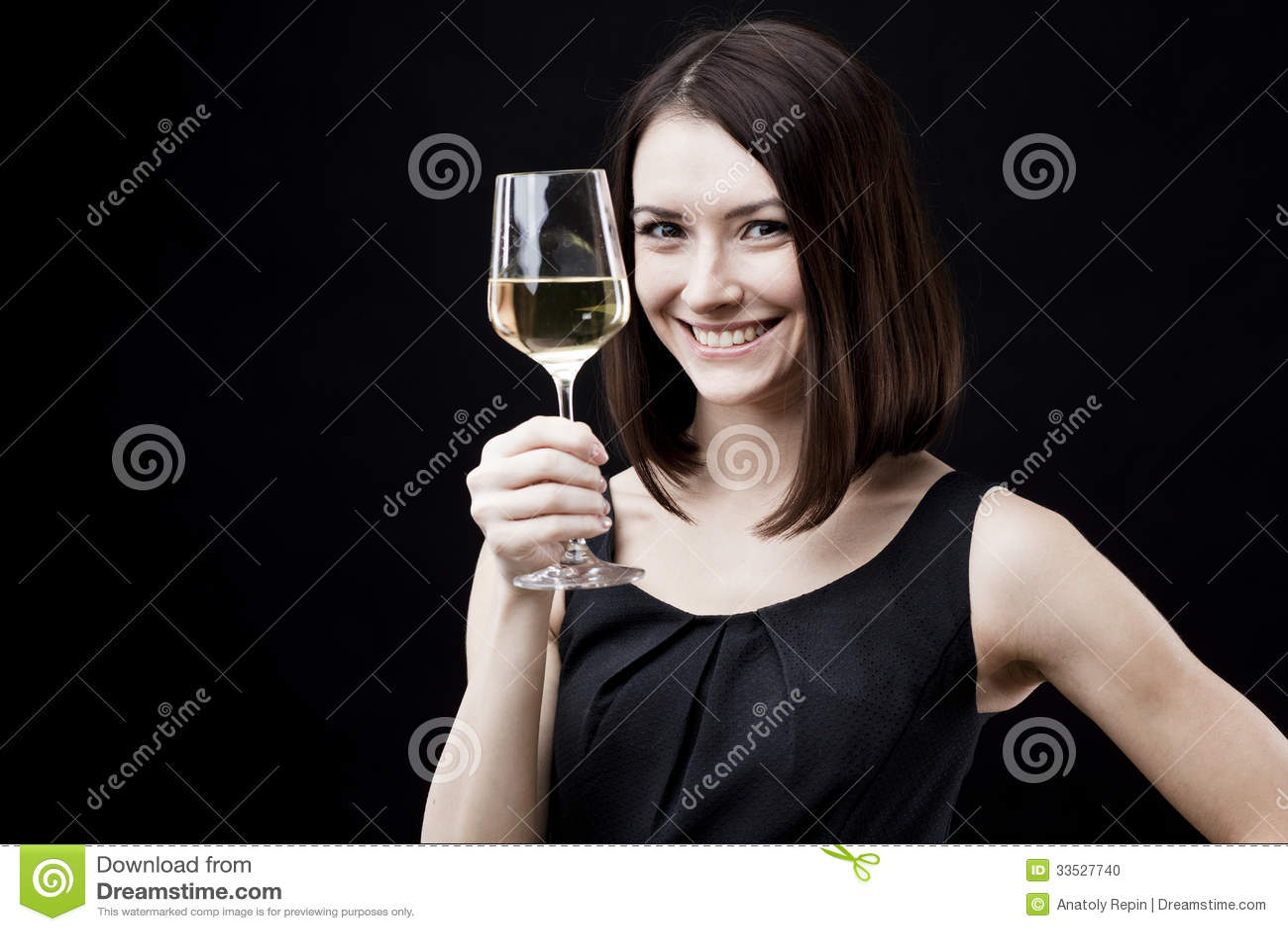 Woman Holding Wine Glass Stock Photo - Image: 33527740