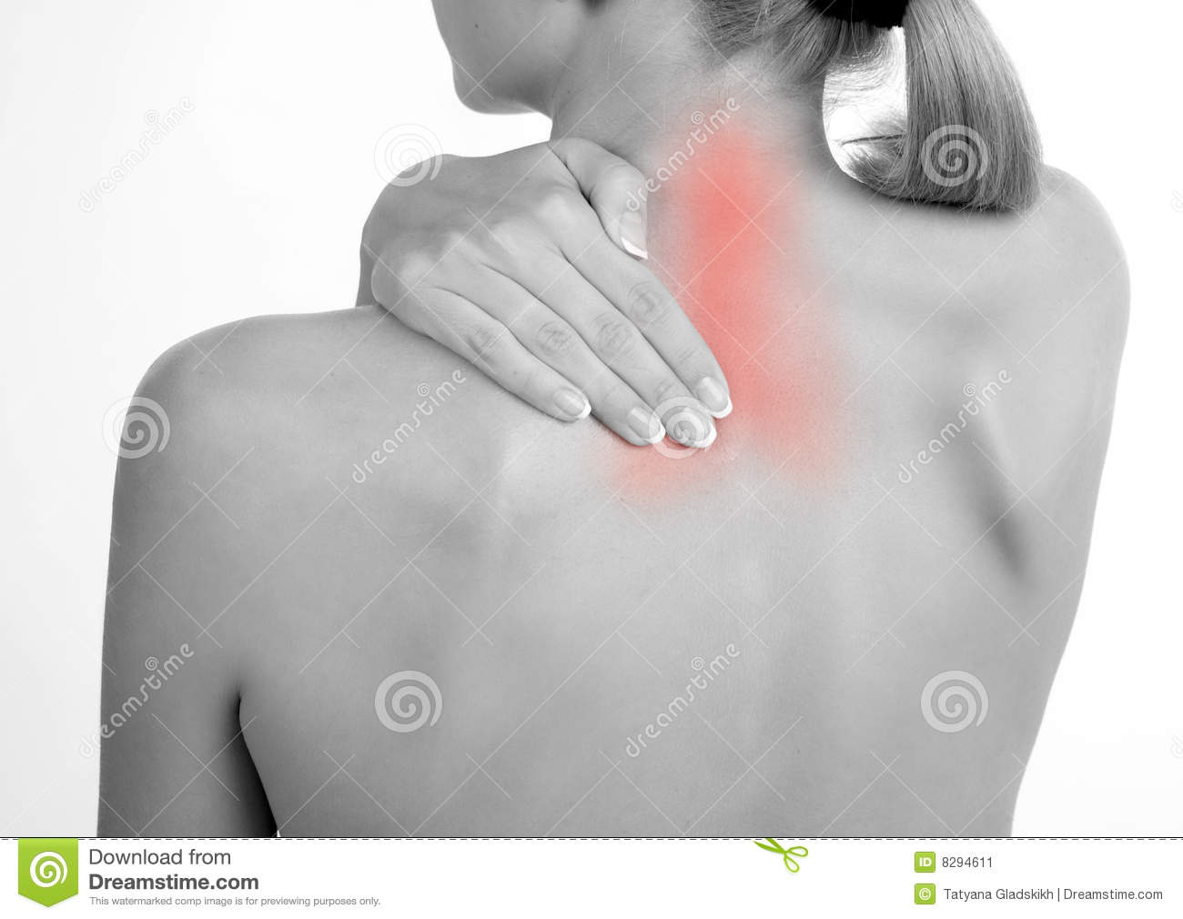 Woman holds a hand on pain neck 2