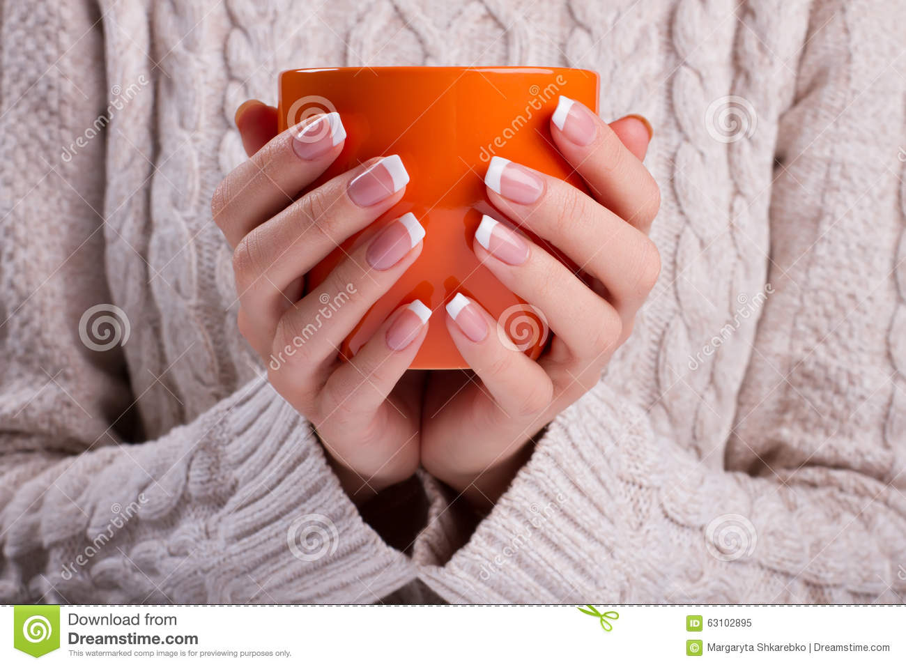 Woman Holds An Orange Cup Close Up Stock Image Image Of Natural