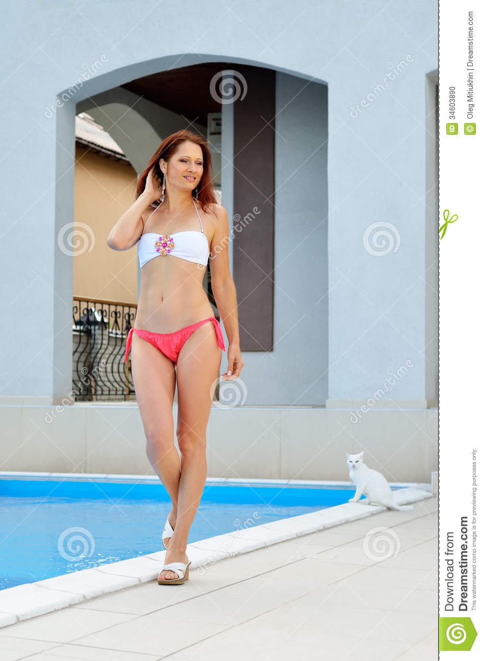 Woman At The Home Pool Stock Photo Image 34603890