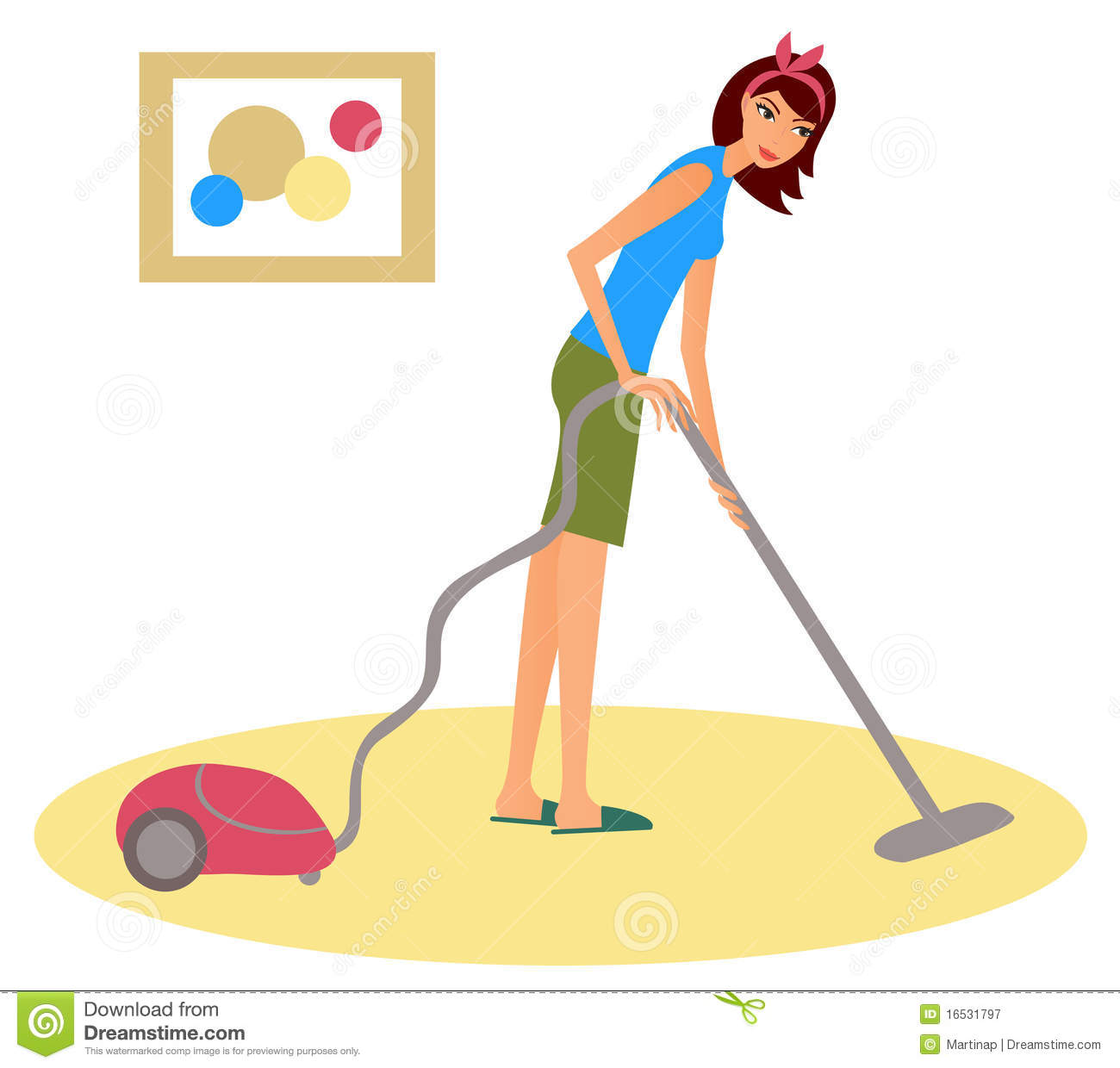 Woman With A Hoover Stock Vector Illustration Of Carpet
