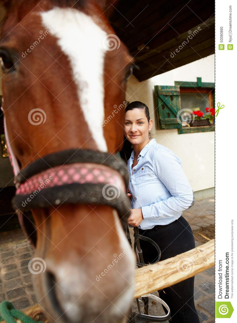 Woman and horse best friends