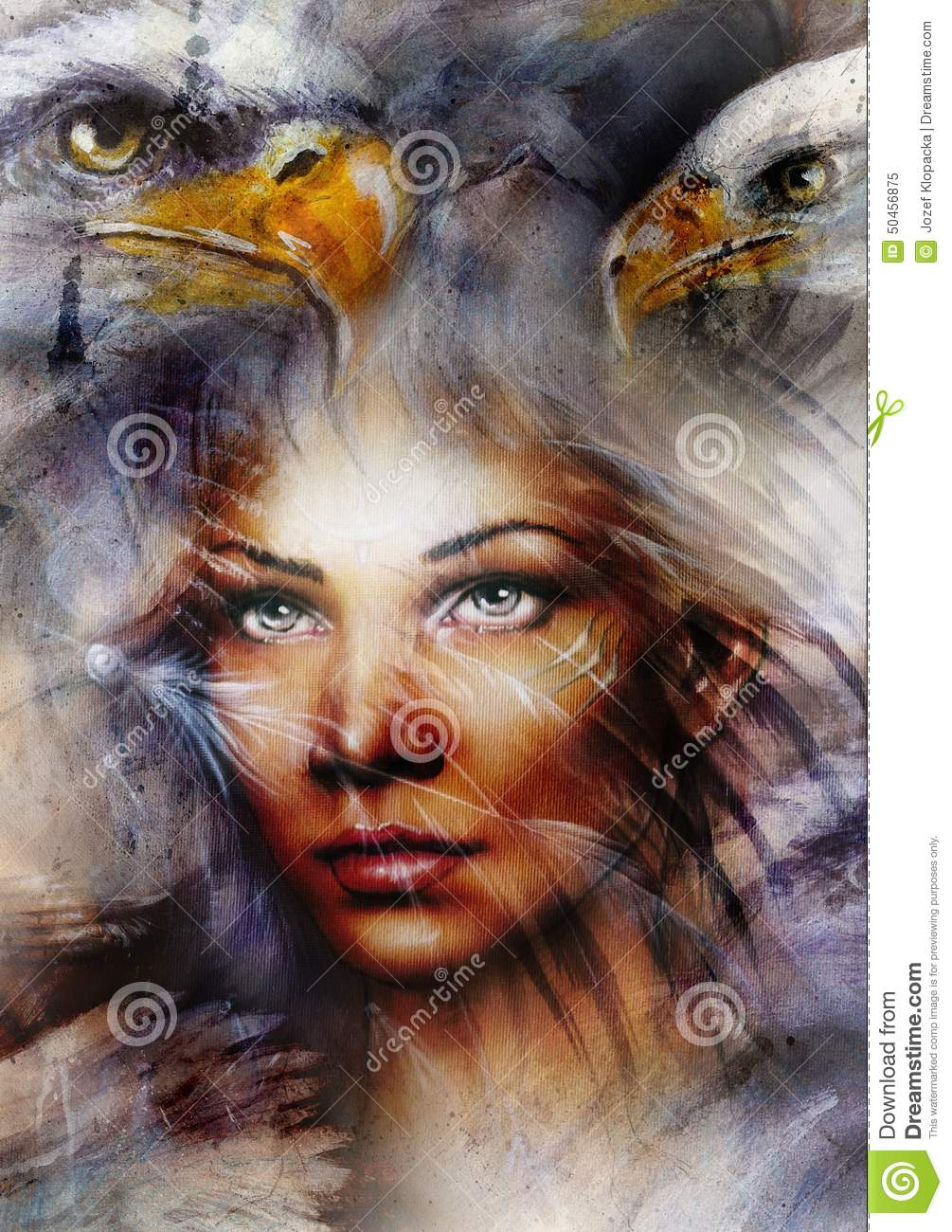 Mystic Woman And Two Eagles Beautiful Painting Eye