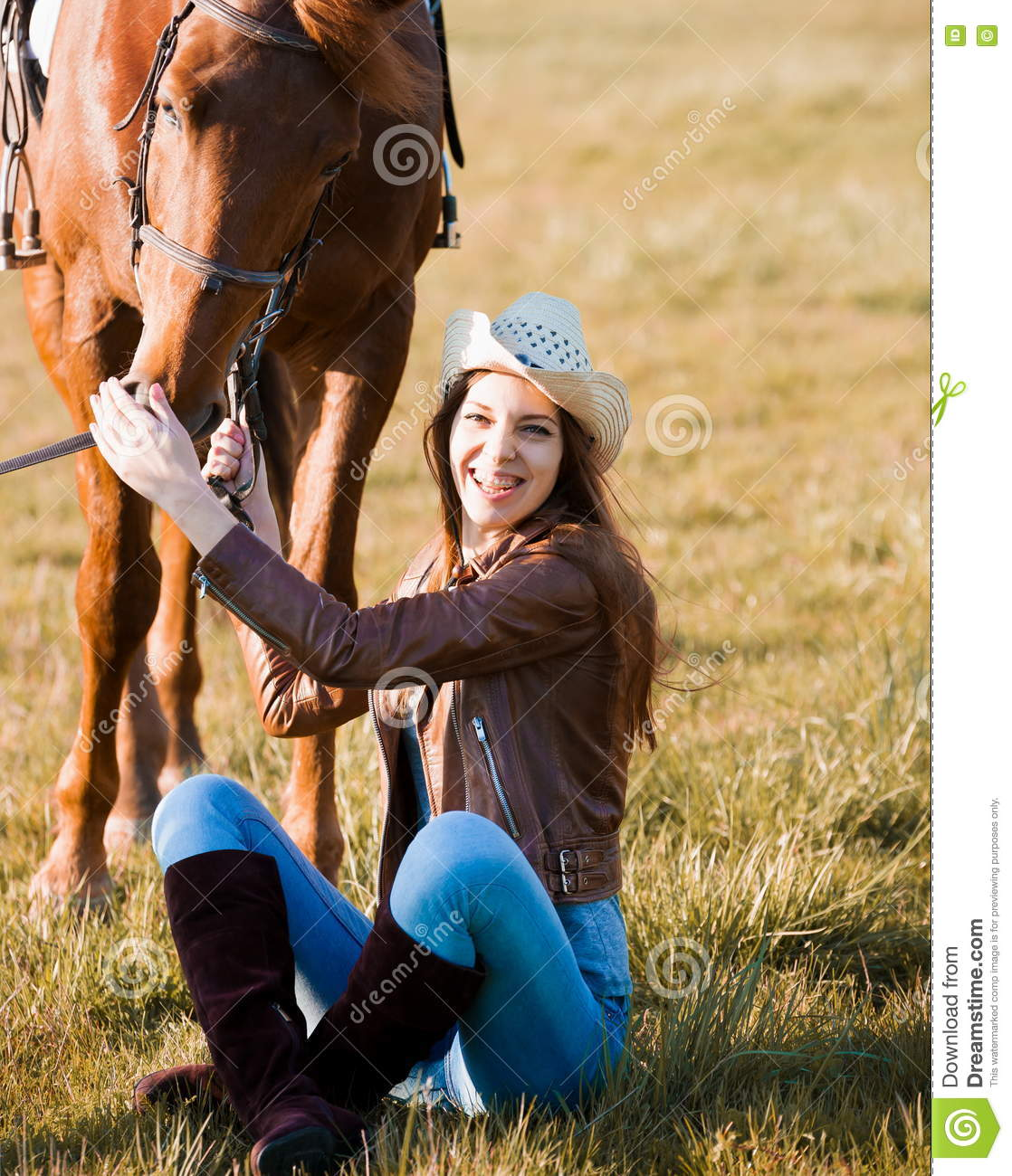 Beautiful Woman Face Over Beach Sunset Stock Image: Woman And Horse. Portrait Close Up, Sunset, Smile Stock