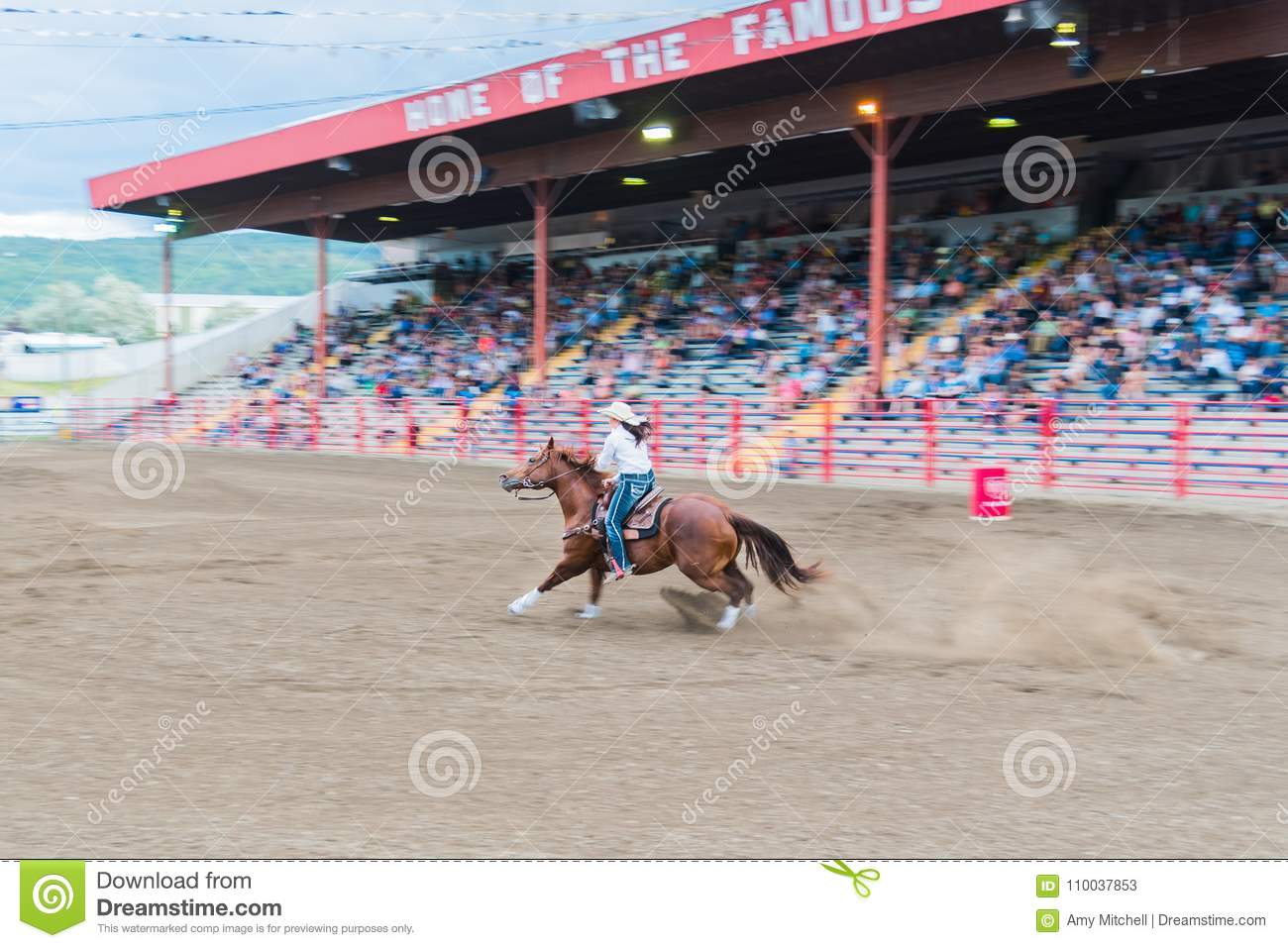 Woman And Horse Race Through Arena At Barrel Racing Competition Editorial Stock Photo Image Of Brown 90th 110037853