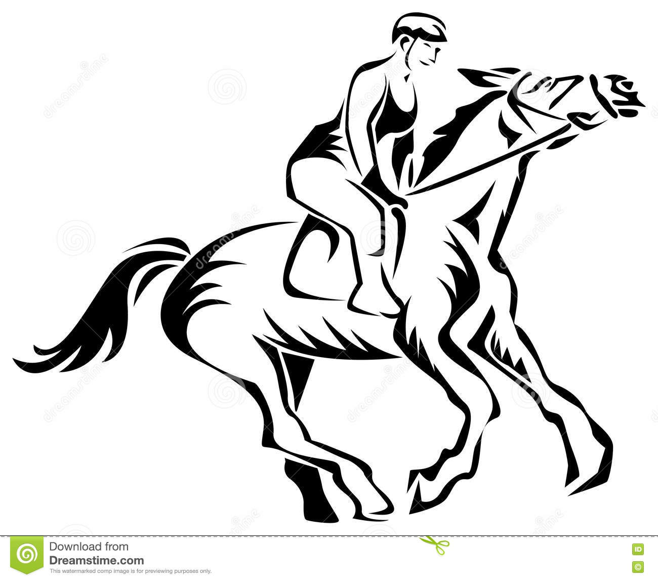 A Woman Horse Rider Stock Vector Illustration Of Action 80963455