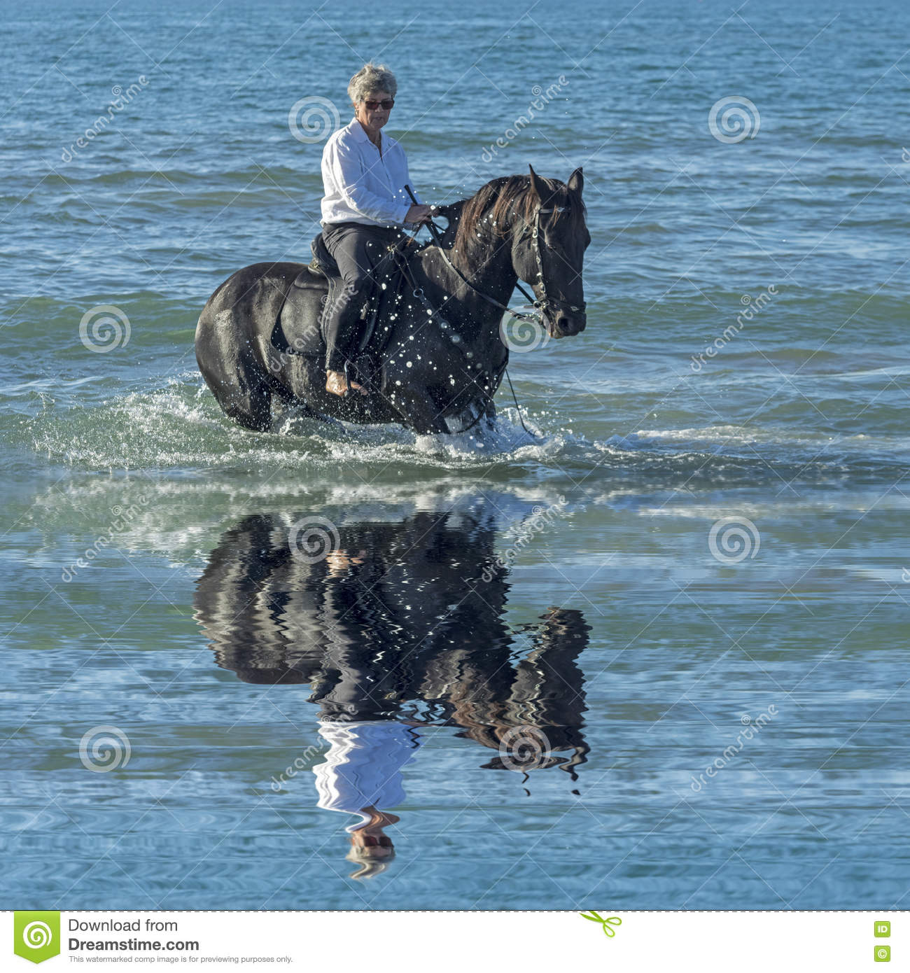 Woman horse in the sea
