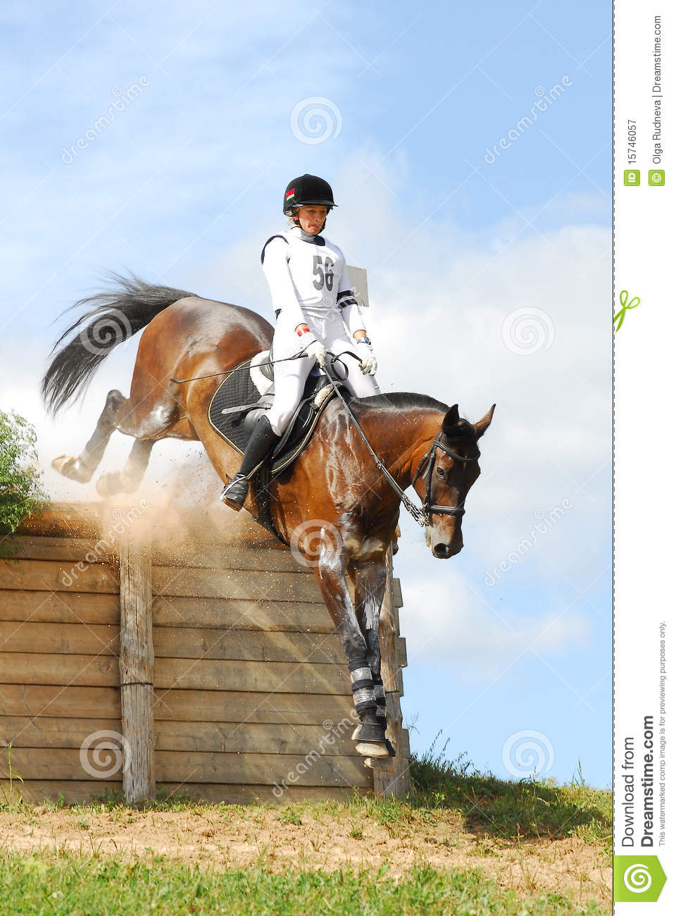 Woman Horseback On Jumping Red Chestnut Horse Editorial