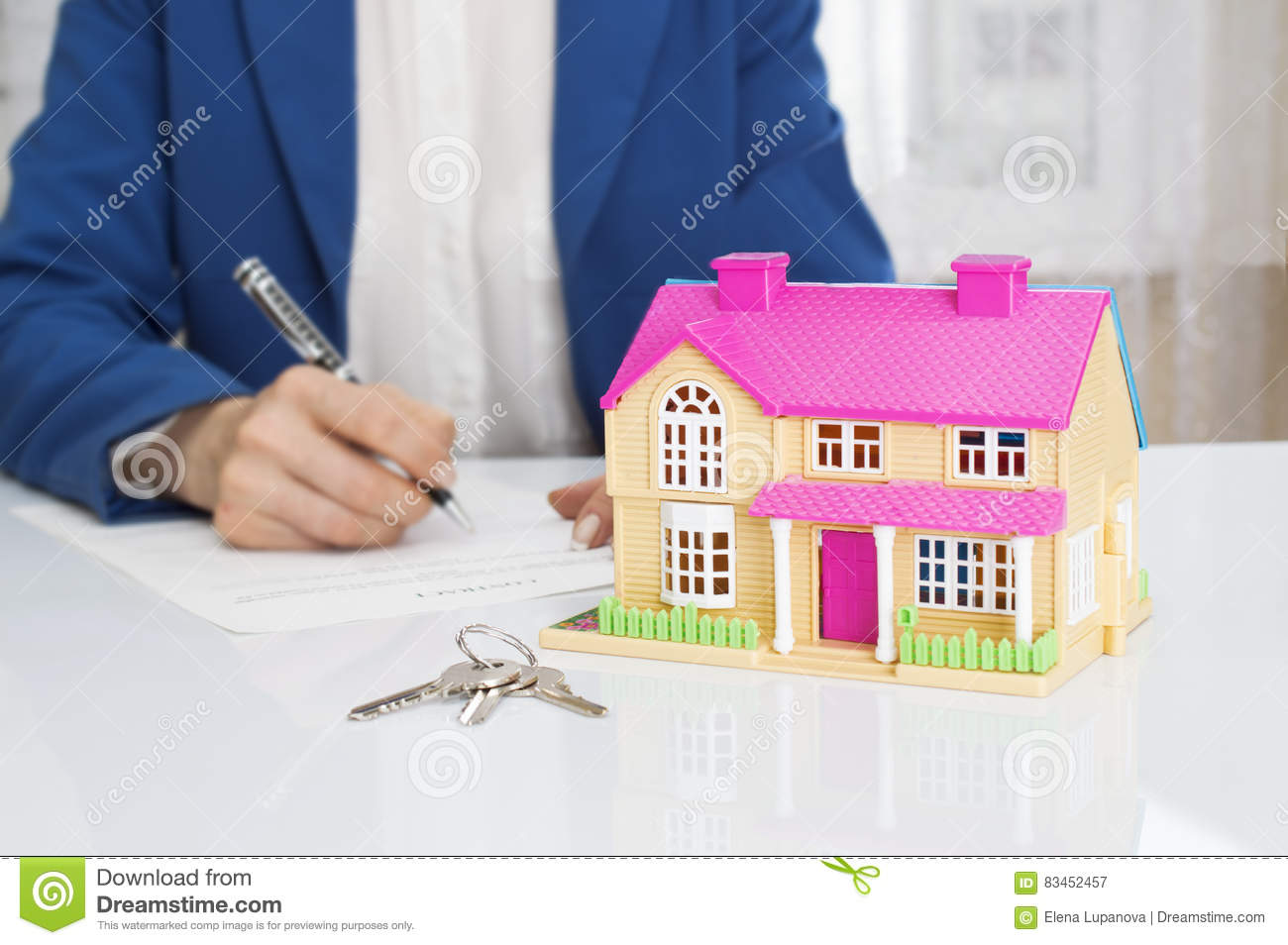 signing contract of house sale royalty free stock photo