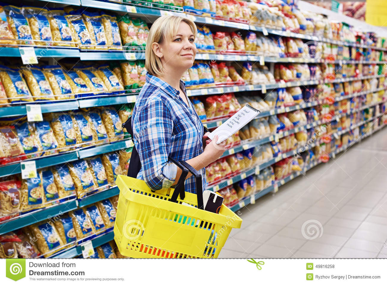 Woman housewife with list shopping in supermarket stock for Www newhouse com