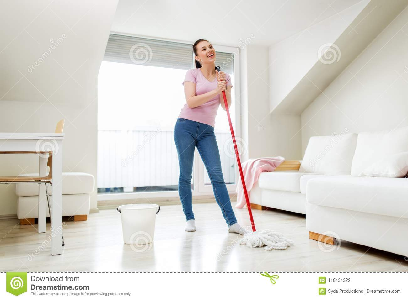 29 Woman Or Housewife With Mop Cleaning Floor At Home Stock Photo ...