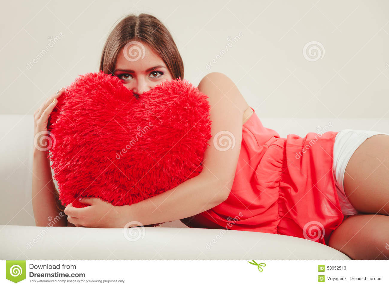 Woman Hugging Heart Shape Pillow Valentines Day Stock