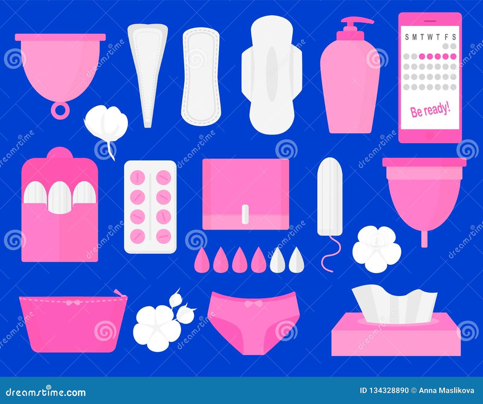 Woman hygiene products - tampon, menstrual cup, sanitary, pills. Vector flat big illustration set