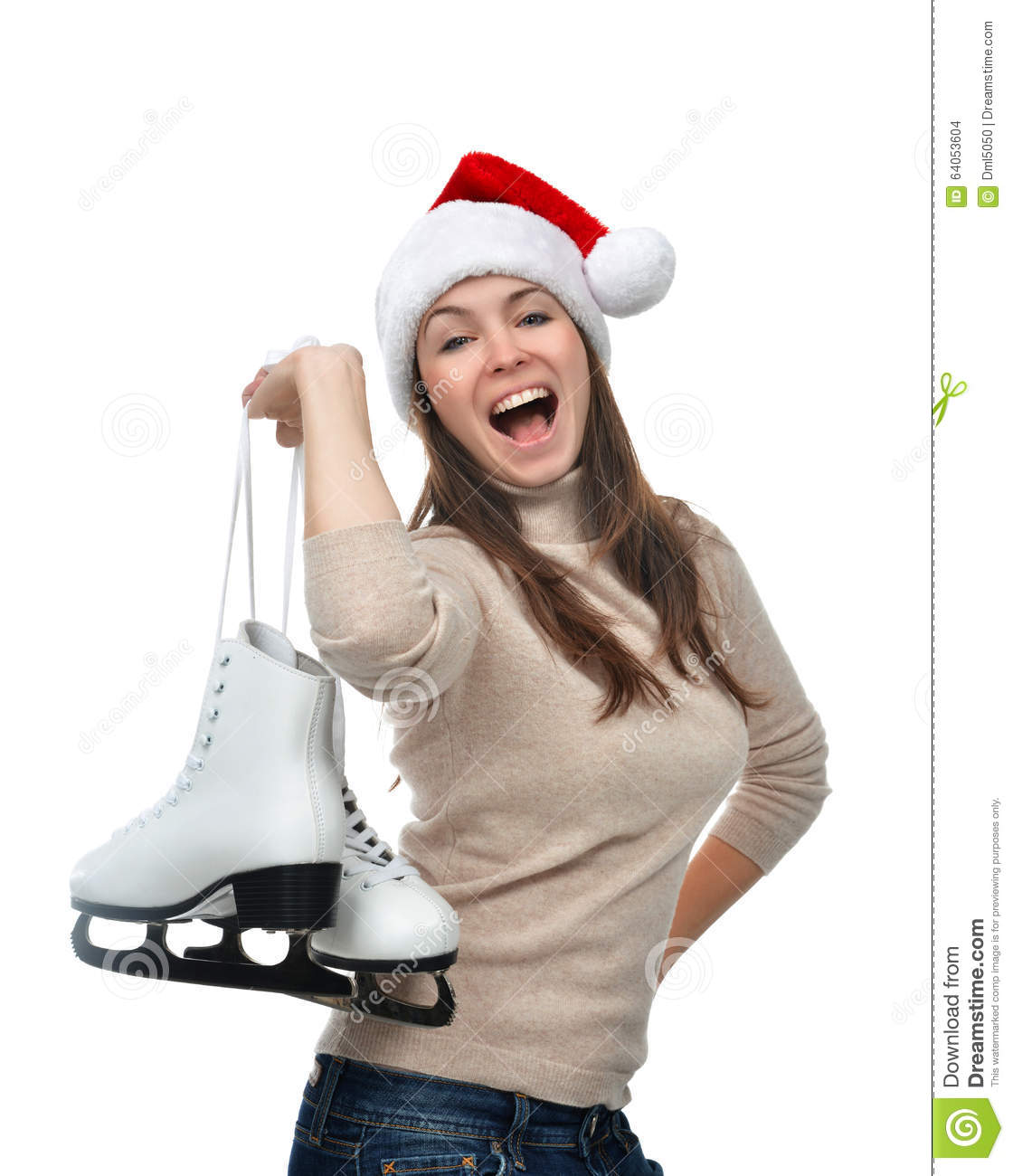 a8e107df02b Woman with ice skates getting ready for ice skating winter sport activity  in christmas santa hat screaming or yelling isolated on a white background