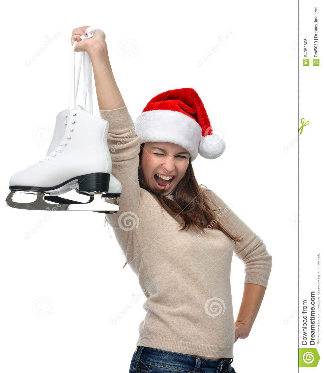 7870825346f Woman with ice skates getting ready for ice skating winter sport activity  in christmas santa hat screaming or yelling isolated on a white backgroun