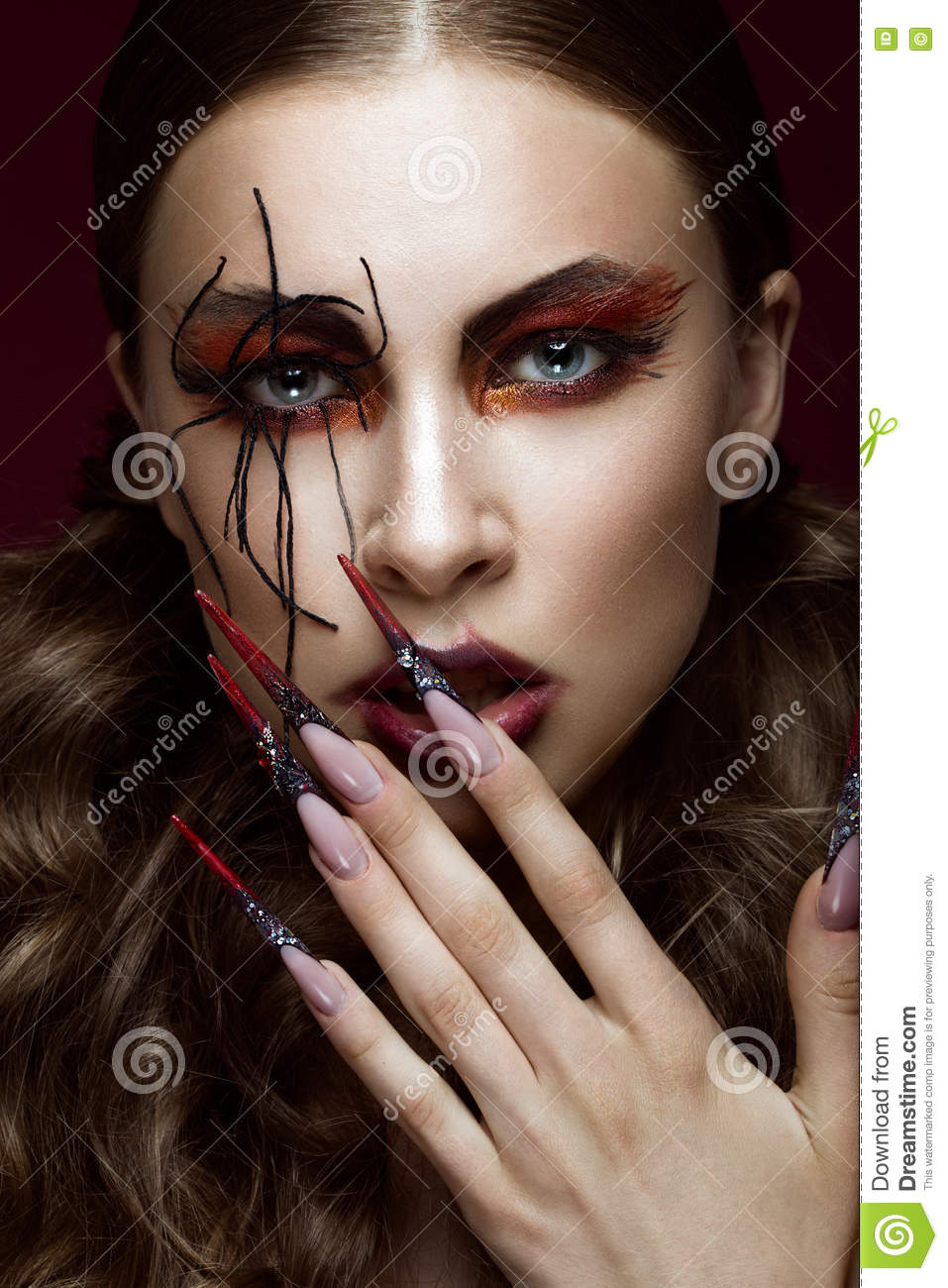 Woman In The Image Of Spider With Creative Art Makeup And ...