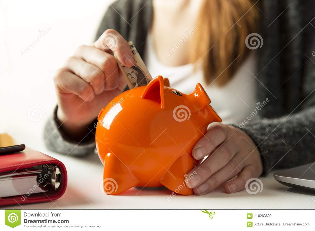 Woman inserting dollar bill in a piggy bank at home in the living room or office