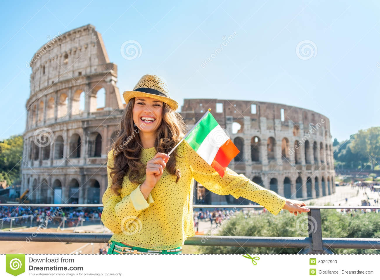 Woman With Italian Flag In Front Of Colosseum Stock Photo ...
