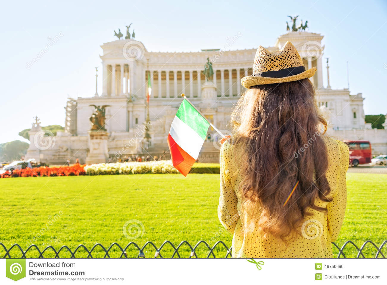 17f8253976d Woman With Italian Flag On Piazza Venezia In Rome Stock Photo ...