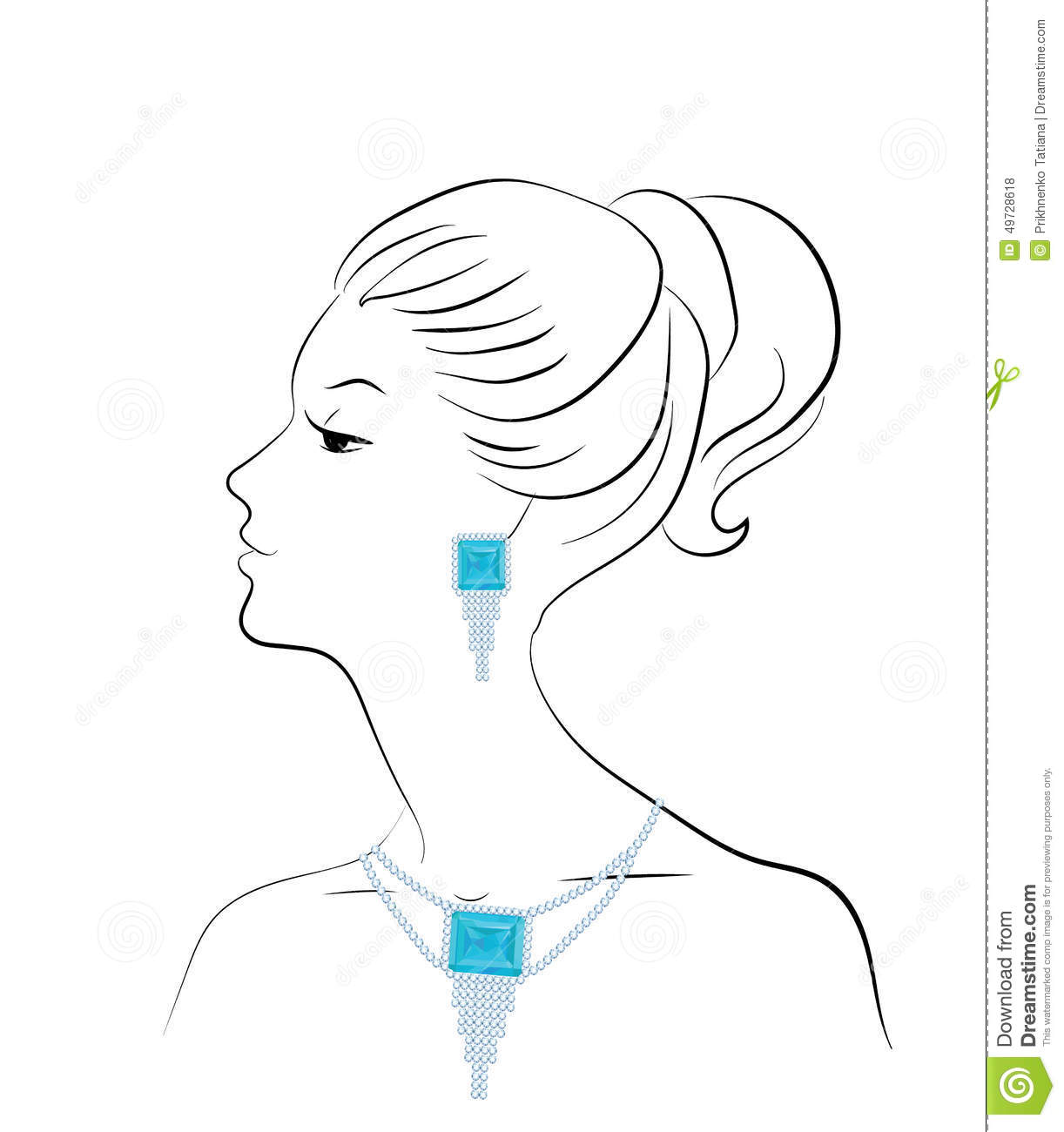 Line Drawing Face Earrings : Woman and jewelry stock vector image