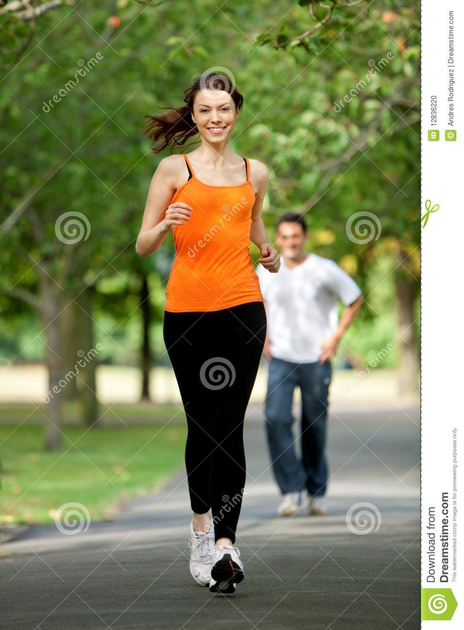 Woman Jogging Outdoors Stock Photo Image Of Jogging