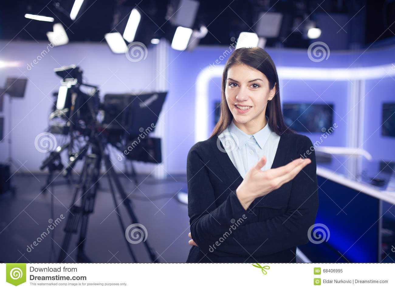 Woman journalist working as reporter, correspondent or broadcast news analystsWoman journalist working as reporter, correspondent