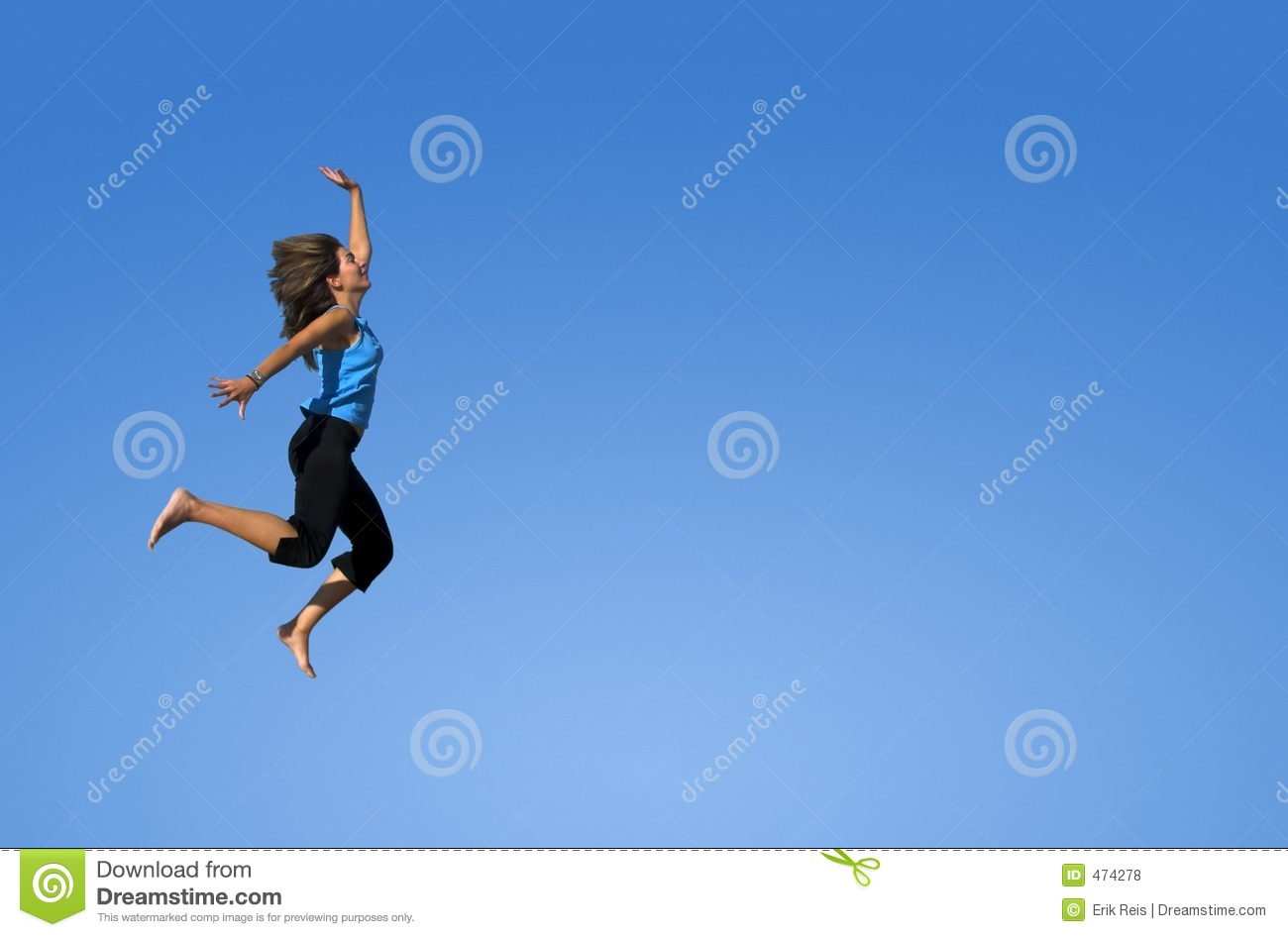 Download Woman Jumping In A Blue Sky Stock Photo - Image of exercise, living: 474278