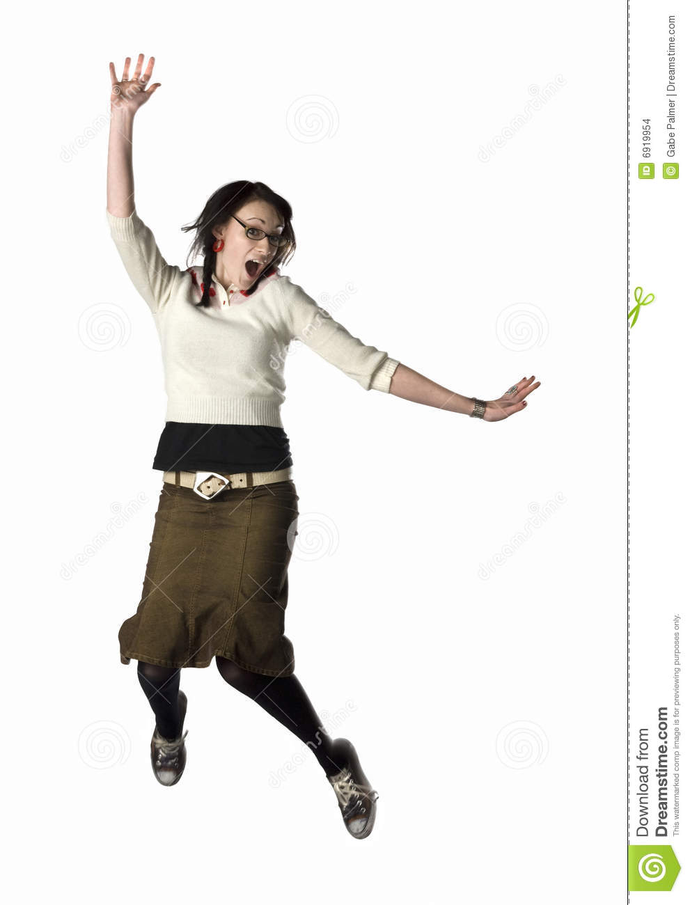 woman jumping for joy stock photo image of studio alone
