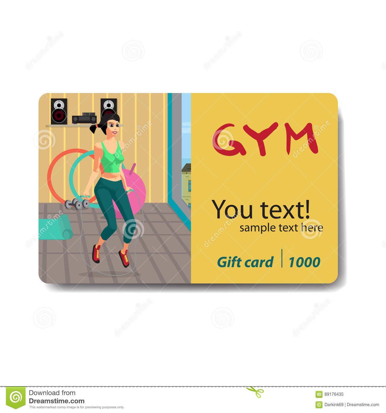Woman Jumping Rope In A Gym. Sale Discount Gift Card. Branding ...