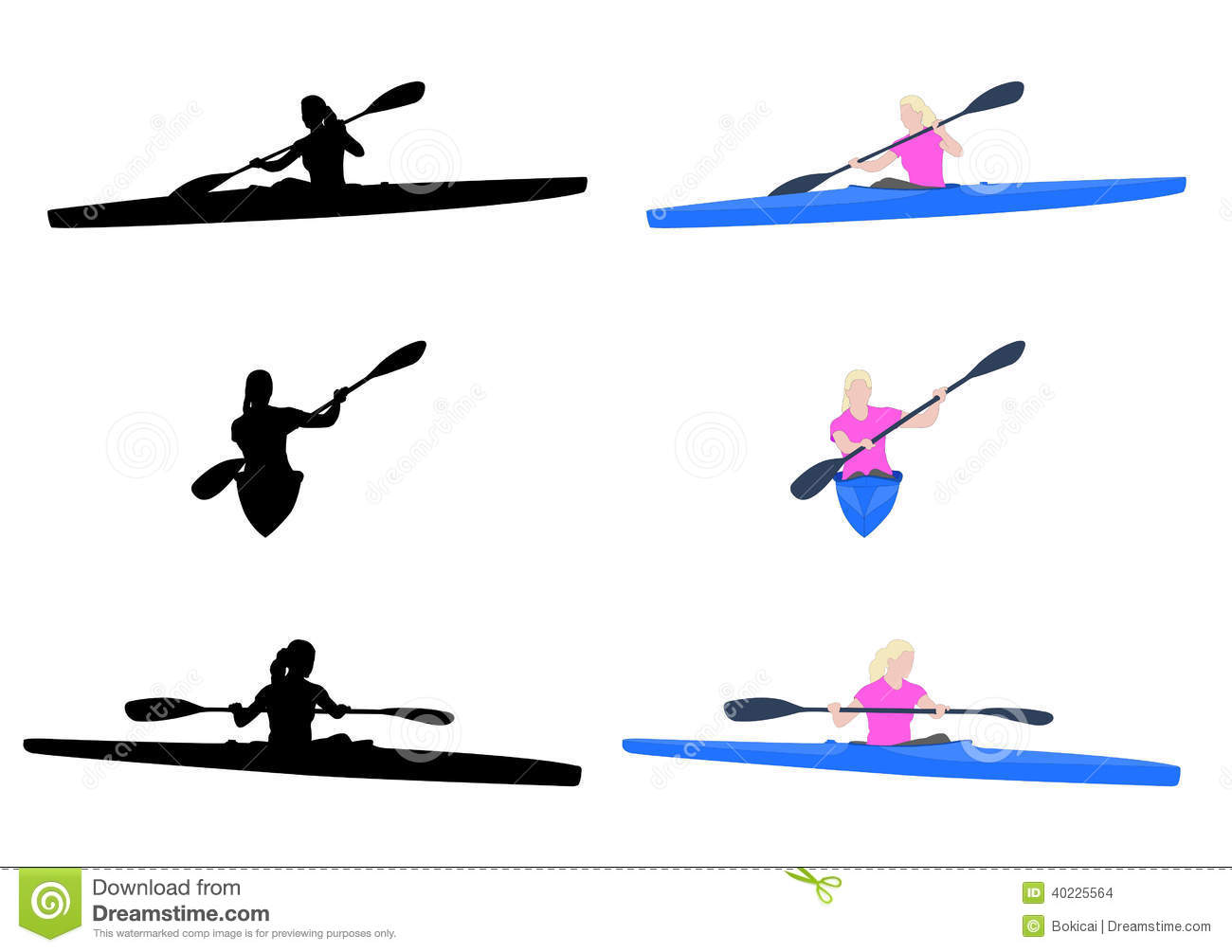 Woman Kayaking Stock Vector Illustration Of Isolated