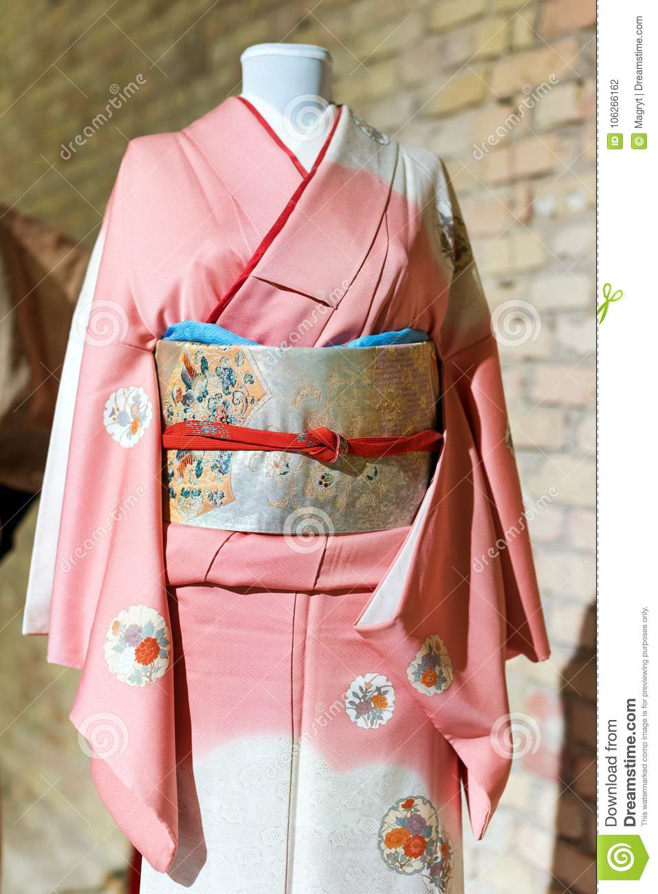Woman Kimono costume on mannequin. Traditional Japanese Maiko dress. Geisha  clothing
