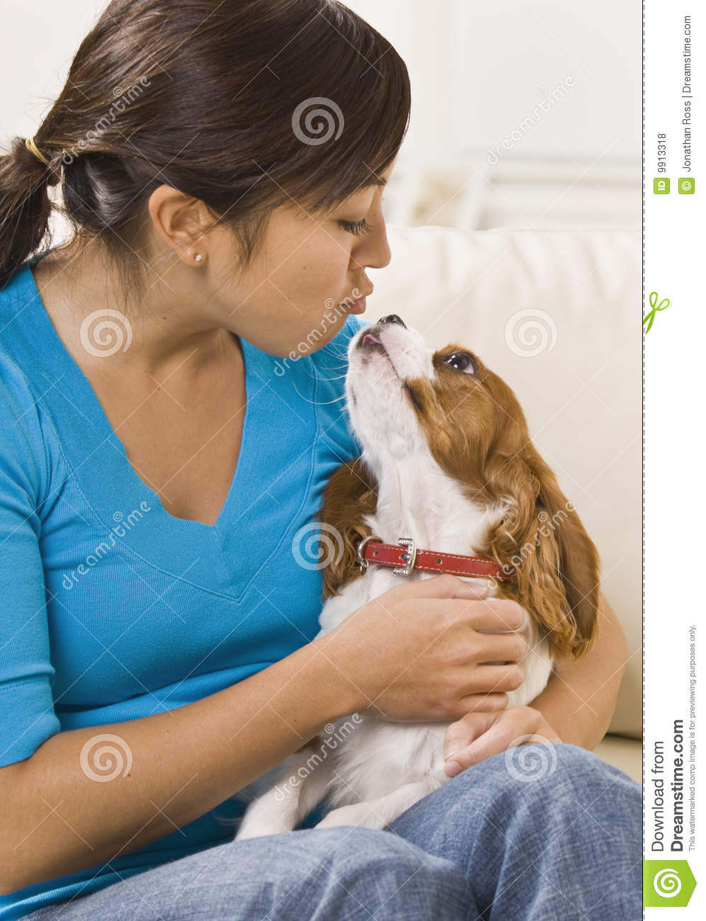 Woman Kissing Dog Stock Photo Image Of American Puppy 9913318