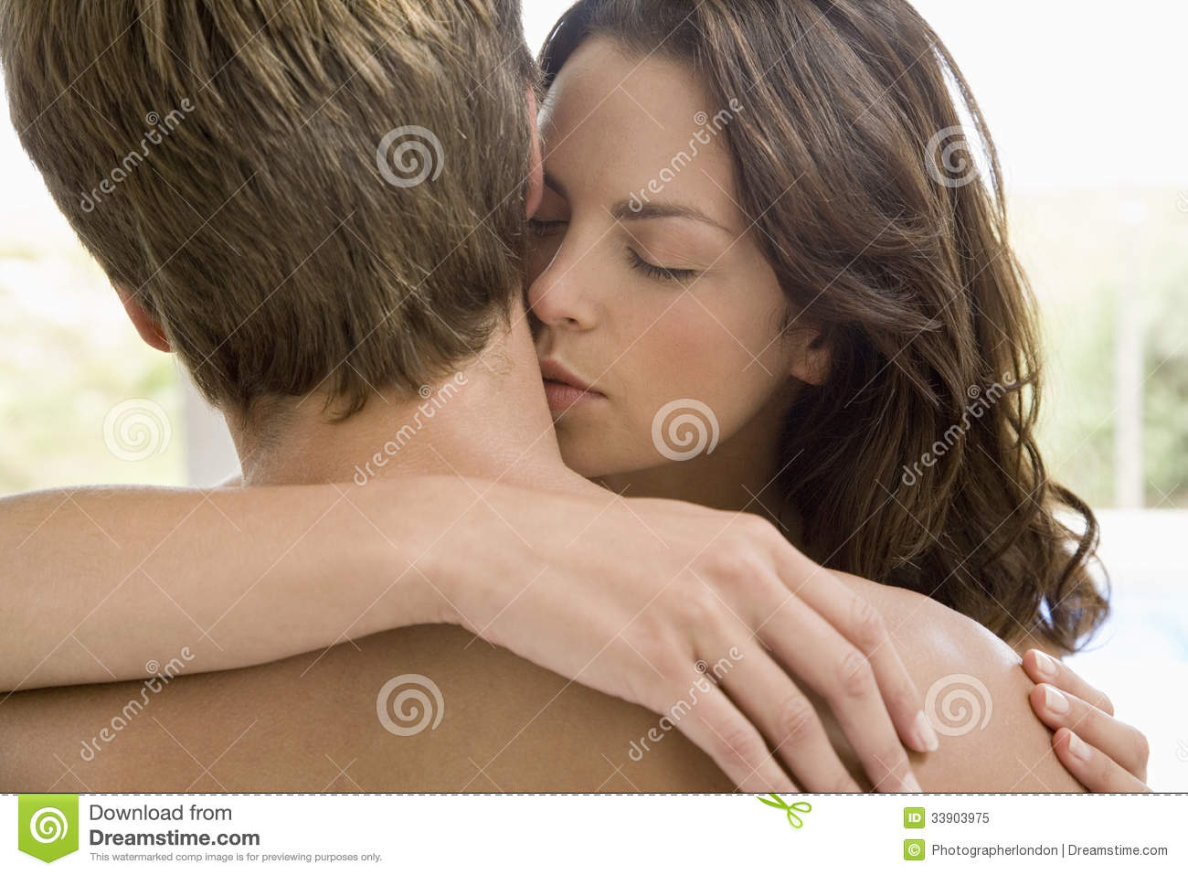 Woman Kissing On Man's Neck Royalty Free Stock Photo - Image: 33903975