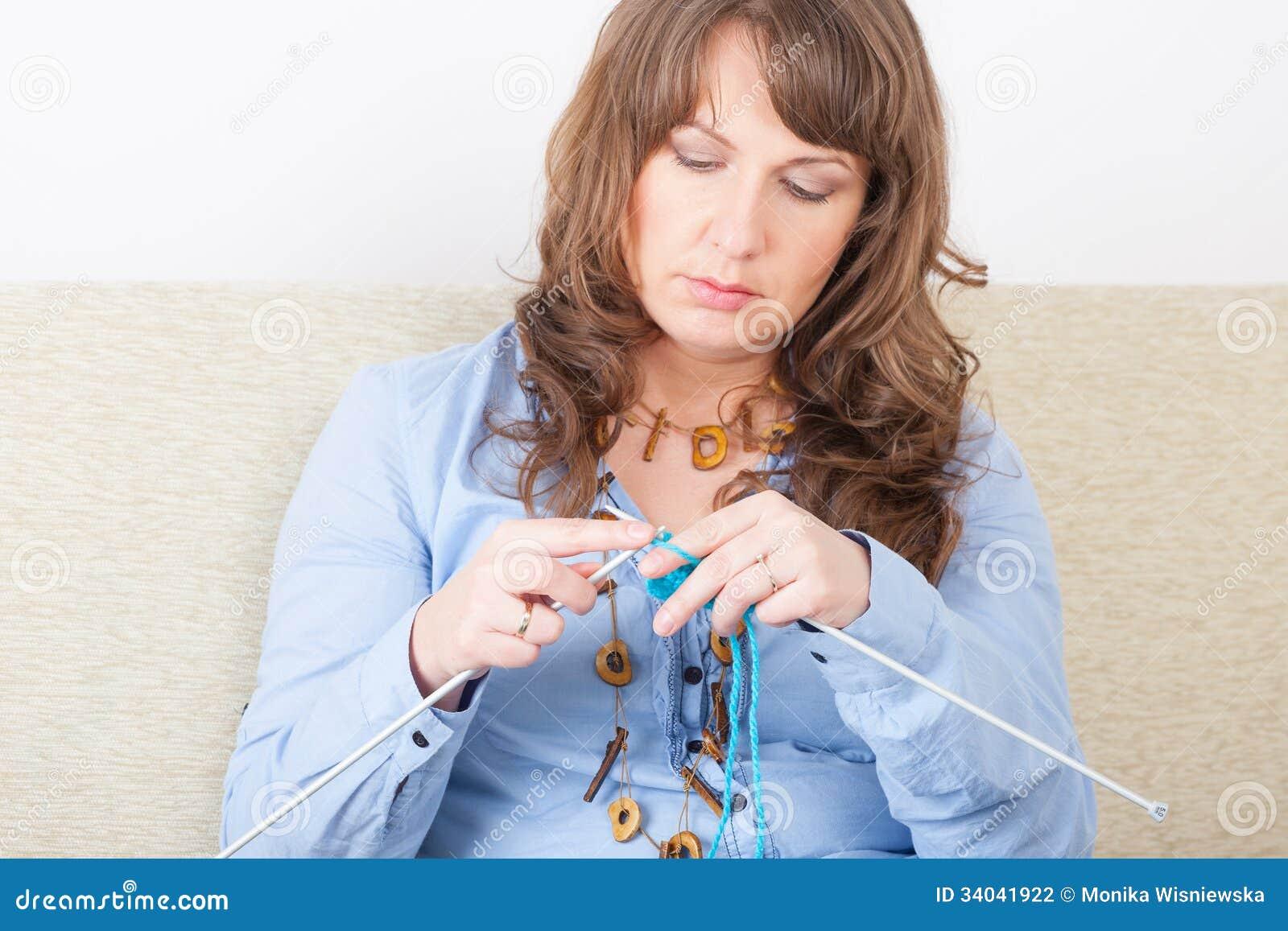 Old Knitting Woman : Woman knitting stock photography image
