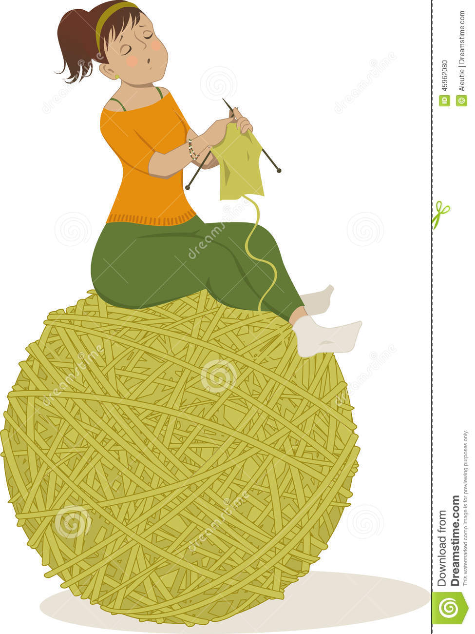 Person Knitting Clipart : Woman knitting stock vector image