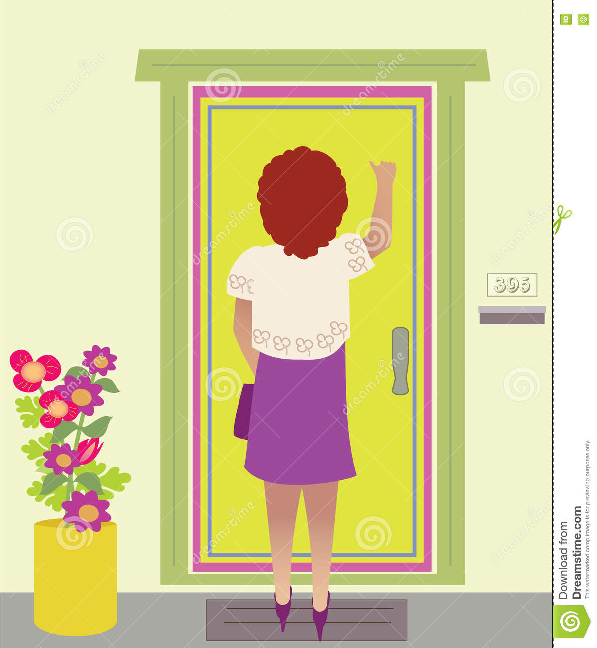 A Woman Knocking on the door & A Woman Knocking On The Door Stock Vector - Illustration of porch ...