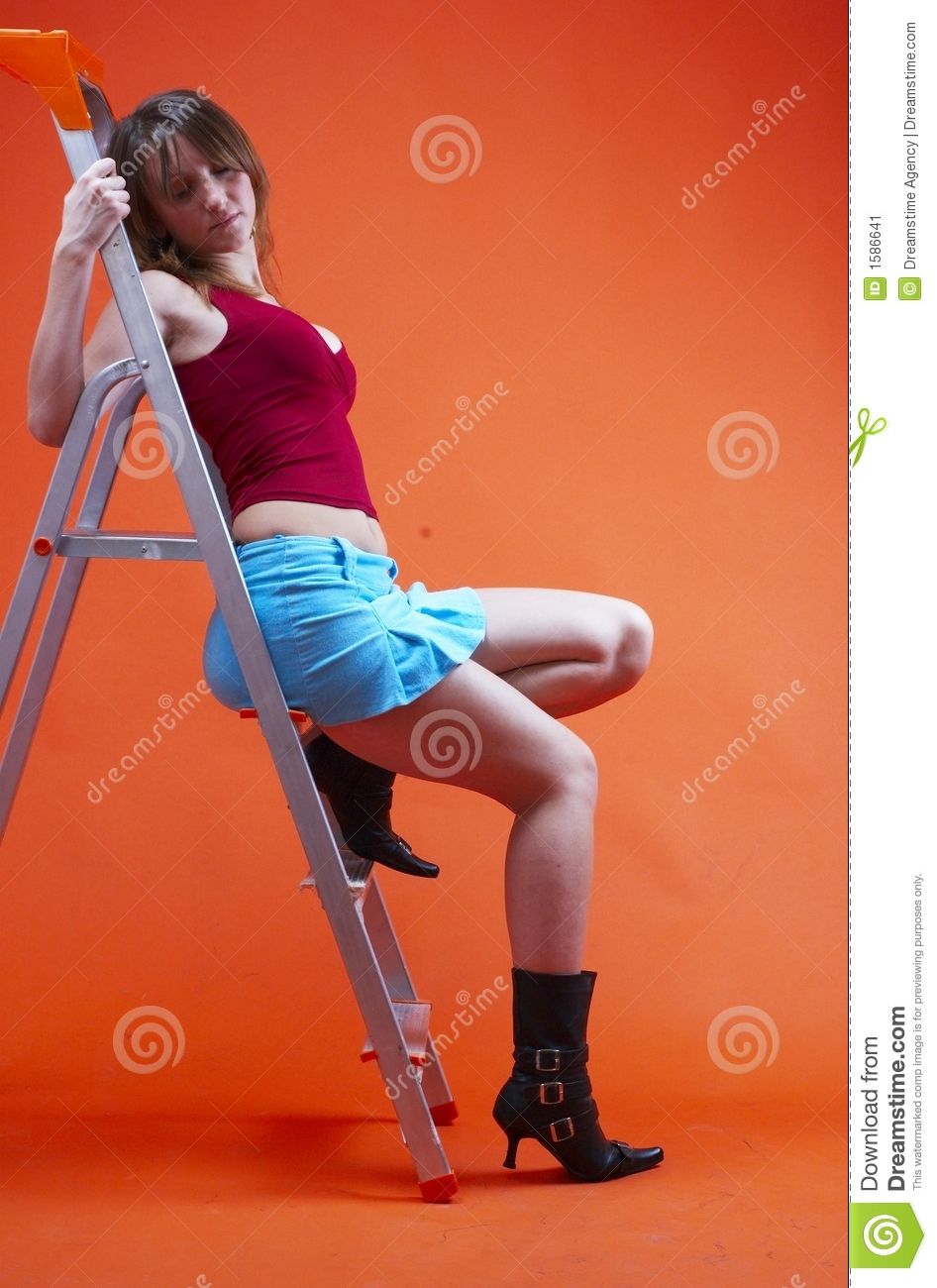Woman On Ladder 2 Stock Image Image Of Midriff Alluring