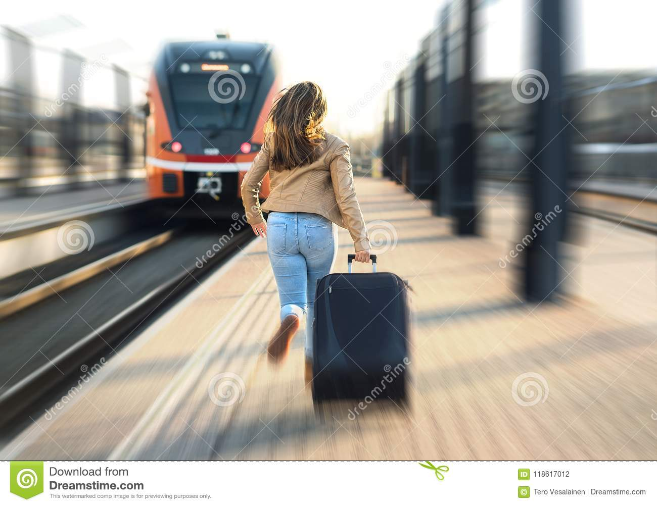 Woman late from train. Tourist running and chasing.